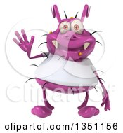 Clipart Of A 3d Purple Germ Virus Wearing A White T Shirt And Waving Royalty Free Illustration by Julos