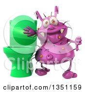 Clipart Of A 3d Purple Germ Virus Standing By A Green Toilet And Giving A Thumb Down Royalty Free Illustration