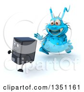 Clipart Of A 3d Blue Germ Virus Monster Chasing A Computer Tower Royalty Free Illustration