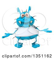 Clipart Of A 3d Shrugging Blue Germ Virus Wearing A White T Shirt Royalty Free Illustration by Julos