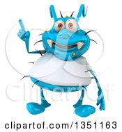 Clipart Of A 3d Blue Germ Virus Wearing A White T Shirt And Holding Up A Finger Royalty Free Illustration