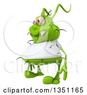 Clipart Of A 3d Green Germ Virus Wearing A White T Shirt Facing Left Royalty Free Illustration