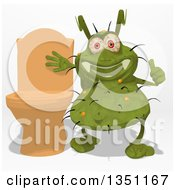 Clipart Of A Cartoon Green Germ Virus Giving A Thumb Up By A Toilet Royalty Free Illustration