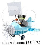 Clipart Of A 3d Green Business Springer Frog Aviator Pilot Wearing Sunglasses Holding A Blank Sign And Flying A Blue Airplane To The Left Royalty Free Illustration