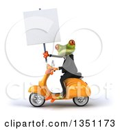3d Green Business Springer Frog Holding A Blank Sign And Riding A Yellow Scooter To The Left