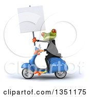 3d Green Business Springer Frog Holding A Blank Sign And Riding A Blue Scooter To The Left