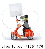 Clipart Of A 3d Green Business Springer Frog Wearing Sunglasses Holding A Blank Sign And Riding A Red Scooter To The Left Royalty Free Illustration