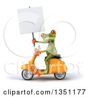 Clipart Of A 3d Green Springer Frog Holding A Blank Sign And Riding A Yellow Scooter To The Left Royalty Free Illustration