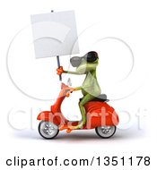 Clipart Of A 3d Green Springer Frog Wearing Sunglasses Holding A Blank Sign And Riding A Red Scooter To The Left Royalty Free Illustration