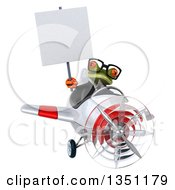 Clipart Of A 3d Bespectacled Green Business Springer Frog Aviator Pilot Holding A Blank Sign And Flying A White And Red Airplane Royalty Free Illustration
