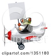 Clipart Of A 3d Bespectacled Green Business Springer Frog Aviator Pilot Holding A Blank Sign And Flying A White And Red Airplane To The Left Royalty Free Illustration