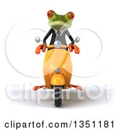 Clipart Of A 3d Green Business Springer Frog Riding A Yellow Scooter Royalty Free Illustration