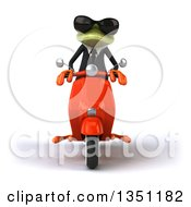 Clipart Of A 3d Green Business Springer Frog Wearing Sunglasses And Riding A Red Scooter Royalty Free Illustration