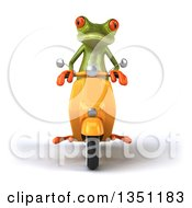 3d Green Springer Frog Riding A Yellow Scooter