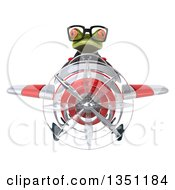 Clipart Of A 3d Bespectacled Green Business Springer Frog Aviator Pilot Flying A White And Red Airplane Royalty Free Illustration by Julos