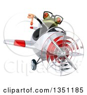 Clipart Of A 3d Bespectacled Green Business Springer Frog Aviator Pilot Givint A Thumb Down And Flying A White And Red Airplane Royalty Free Illustration