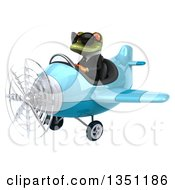 Clipart Of A 3d Green Business Springer Frog Aviator Pilot Wearing Sunglasses And Flying A Blue Airplane To The Left Royalty Free Illustration