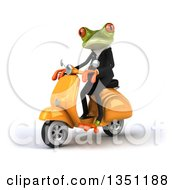 Clipart Of A 3d Green Business Springer Frog Riding A Yellow Scooter To The Left Royalty Free Illustration