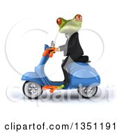 3d Green Business Springer Frog Riding A Blue Scooter To The Left