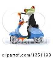 Clipart Of A 3d Green Business Springer Frog Giving A Thumb Down And Riding A Blue Scooter To The Left Royalty Free Illustration