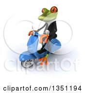 Clipart Of A 3d Green Business Springer Frog Riding A Blue Scooter To The Left Royalty Free Illustration