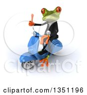 Clipart Of A 3d Green Business Springer Frog Giving A Thumb Up And Riding A Blue Scooter To The Left Royalty Free Illustration