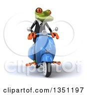 Clipart Of A 3d Green Business Springer Frog Riding A Blue Scooter Royalty Free Illustration