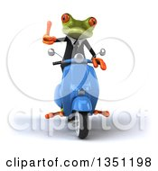 Clipart Of A 3d Green Business Springer Frog Giving A Thumb Up And Riding A Blue Scooter Royalty Free Illustration