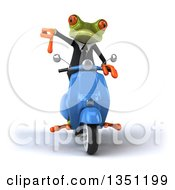 Clipart Of A 3d Green Business Springer Frog Giving A Thumb Down And Riding A Blue Scooter Royalty Free Illustration