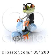 Clipart Of A 3d Bespectacled Green Business Springer Frog Riding A Blue Scooter To The Left Royalty Free Illustration