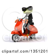 Clipart Of A 3d Green Business Springer Frog Wearing Sunglasses And Riding A Red Scooter To The Left Royalty Free Illustration