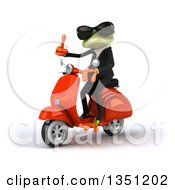 Clipart Of A 3d Green Business Springer Frog Wearing Sunglasses Giving A Thumb Up And Riding A Red Scooter To The Left Royalty Free Illustration