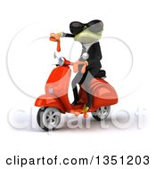 Clipart Of A 3d Green Business Springer Frog Wearing Sunglasses Giving A Thumb Down And Riding A Red Scooter To The Left Royalty Free Illustration