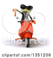 Clipart Of A 3d Green Business Springer Frog Wearing Sunglasses Giving A Thumb Down And Riding A Red Scooter Royalty Free Illustration