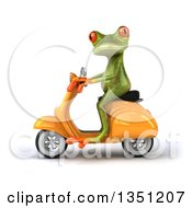 Clipart Of A 3d Green Springer Frog Riding A Yellow Scooter To The Left Royalty Free Illustration