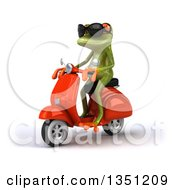 Clipart Of A 3d Green Springer Frog Wearing Sunglasses And Riding A Red Scooter To The Left Royalty Free Illustration
