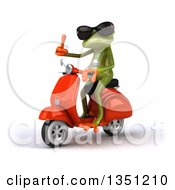 Clipart Of A 3d Green Springer Frog Wearing Sunglasses Giving A Thumb Up And Riding A Red Scooter To The Left Royalty Free Illustration