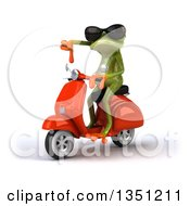 Clipart Of A 3d Green Springer Frog Wearing Sunglasses Giving A Thumb Down And Riding A Red Scooter To The Left Royalty Free Illustration