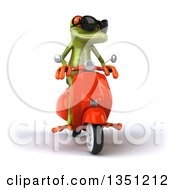 Clipart Of A 3d Green Springer Frog Wearing Sunglasses And Riding A Red Scooter Royalty Free Illustration