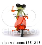 Clipart Of A 3d Green Springer Frog Wearing Sunglasses Giving A Thumb Up And Riding A Red Scooter Royalty Free Illustration