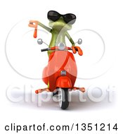 Clipart Of A 3d Green Springer Frog Wearing Sunglasses Giving A Thumb Down And Riding A Red Scooter Royalty Free Illustration
