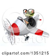 Clipart Of A 3d Bespectacled Green Business Springer Frog Aviator Pilot Flying A White And Red Airplane To The Left Royalty Free Illustration