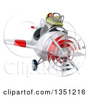 Clipart Of A 3d Bespectacled Green Business Springer Frog Aviator Pilot Flying A White And Red Airplane Royalty Free Illustration