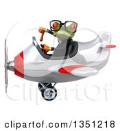 Clipart Of A 3d Bespectacled Green Business Springer Frog Aviator Pilot Givint A Thumb Down And Flying A White And Red Airplane To The Left Royalty Free Illustration