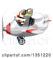Clipart Of A 3d Bespectacled Green Business Springer Frog Aviator Pilot Givint A Thumb Up And Flying A White And Red Airplane To The Left Royalty Free Illustration