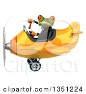 Clipart Of A 3d Green Business Springer Frog Aviator Pilot Giving A Thumb Down And Flying A Yellow Airplane To The Left Royalty Free Illustration