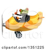Clipart Of A 3d Green Business Springer Frog Aviator Pilot Giving A Thumb Up And Flying A Yellow Airplane To The Left Royalty Free Illustration