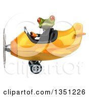 Clipart Of A 3d Green Business Springer Frog Aviator Pilot Flying A Yellow Airplane To The Left Royalty Free Illustration