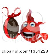Clipart Of A 3d Red Fish Holding A Chocolate Easter Egg Royalty Free Illustration by Julos