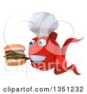 Clipart Of A 3d Red Fish Chef Facing Left And Holding A Double Cheeseburger Royalty Free Illustration by Julos